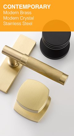 Modern Brass, Crystal, Stainless Steel Door Hardware